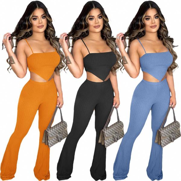 MOEN New Trendy Solid Color Two Piece Set 2021 Crop Top Flare Pants Knitted 2 Piece Pant Sets