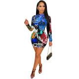 MOEN New Arrival 2021 Long Sleeve Summer Dress Casual Print Simple Women Short Club Dresses