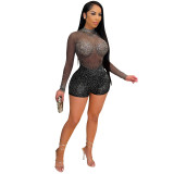 MOEN Lowest Price Mesh Transparent Bandage Jumpsuit Zipper Rhinestone Sexy Night Club Summer Custom Jumpsuit