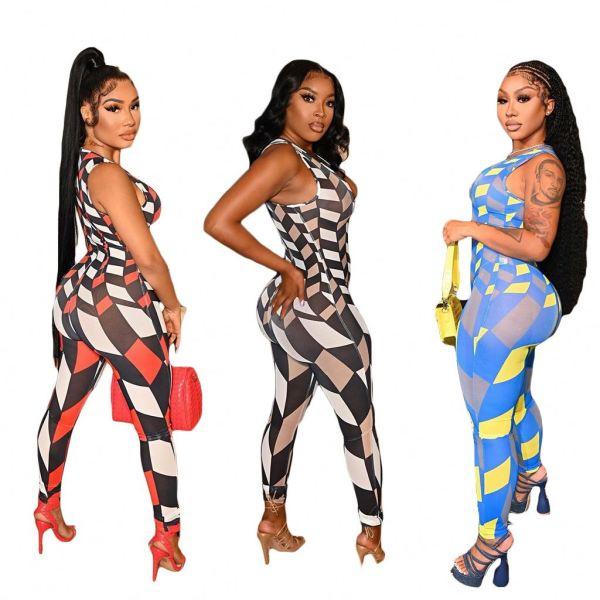 MOEN Fashionable Geometric Print Jumpsuit Women Sleeveless Long Pants Bodycon Jumpsuit 2021