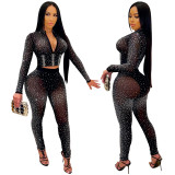 MOEN Fashionable Short Top Long Pants 2 Piece Set Women Mesh Rhinestone Nightclub Two Piece Pant Sets
