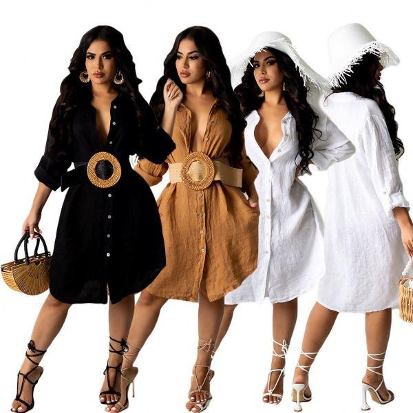 MOEN Best Seller Solid Color Casual Dresses 2021 Long Sleeve Loose Long Shirt Blouse Woman Casual Dress