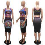MOEN Trendy 2021 Printing 2 Piece Set Women Tank Top Pencil Skirt Two Pieces Women Clothing Skirt Set