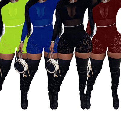 MOEN Good Quality Solid Color Casual Short Pants Summer Womens Lace Spliced Shorts