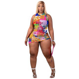 MOEN High Quality Fashion Printed Two Piece Set 2021 Summer Sleeveless Two Piece Short Skirt Set
