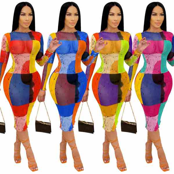 MOEN High Quality Long Sleeve Bodycon Dress Women Summer Color Block Print Casual Elegant Ladies Dresses