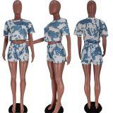 MOEN Amazon 2021 Tie Dye Women Sets Casual Crop Top Tshirt And Shorts Sumemr Two Piece Short Pants Set