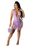 MOEN Amazon 2021 Candy Color Backless Sexy Swimwear Sandbeach Bikini Tassel One Piece Swimsuit