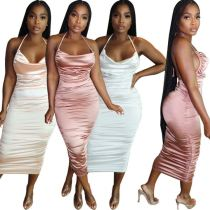 MOEN High Quality Solid Color Bodycon Dress Women Stylish Sexy Hanging Neck Backless Ruched Cocktail Dresses