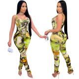 MOEN Good Quality Beautiful Print Sleeveless Corset Top Stack Pants Summer Rompers Women Jumpsuit 2021