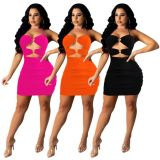 MOEN New Arrival 2021 Streetwear Sexy Solid Color Backless Dresses Summer Hollow Out Short Dress
