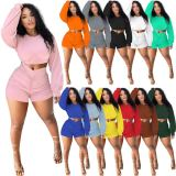 MOEN Best Seller Solid Color Crop Top And Draped Shorts 2 Piece Shorts Women Set Summer Shorts Casual Women Two Piece Sets