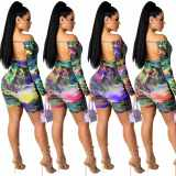 MOEN High Quality Hollow Out Printed Jumpsuits Long Sleeve Pleated Sexy Women Short Jumpsuit Rompers