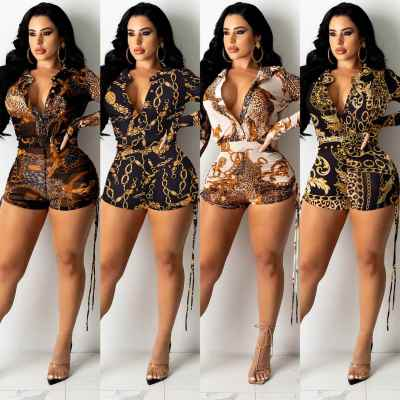 MOEN Hot Selling Trendy Print Sexy Jumpsuits Club Wear Buttons Belt Summer Romper Drawstring Bodycon Jumpsuits