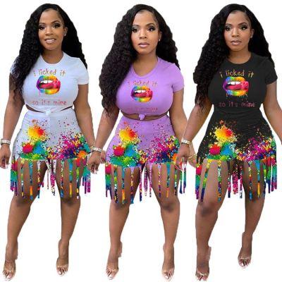 MOEN Latest Design Lip Printed Tassel Two Piece Set Women Summer Women Clothing 2021 Two Piece Short Pants Set