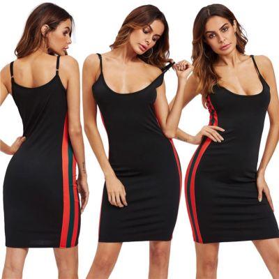 MOEN Fashion 2021 Streetwear Spaghetti Strap Stylish Sexy Dress Side Stripe Elegant Casual Midi Dresses