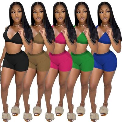 MOEN Good Quality Solid Color Custom Crop Top 2 Piece Set Women Summer Casual Two Piece Bra And Shorts Yoga Set