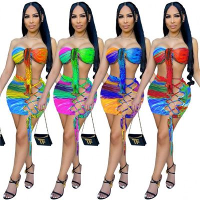 MOEN Hot Sale Sexy Club Print Womens Two Piece Set Summer Bandage Hollow Out Women Outfits 2 Piece Skirt Set