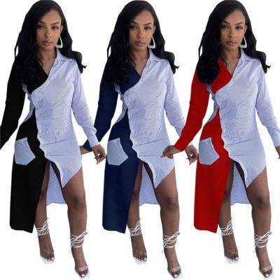 MOEN Best Seller Fashion Patchwork Asymmetrical Long Dresses Women Maxi Casual Elegant Office Dress