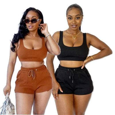 MOEN High Quality Solid Color Crop Top Two Piece Set Tracksuit Women Casual Custom 2 Piece Shorts Set