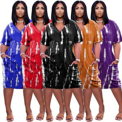 MOEN Latest Design Printed Short Sleeve Dress Summer Women Casual Home Wear Plus Size Dress