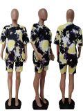 MOEN Lowest Price Tie Dye Lounge Wear Two Piece Set 2021 Summer Casual 2 Pc Women Shorts Pants Set