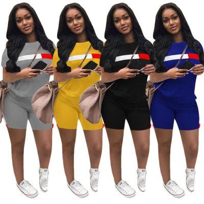 MOEN Fashionable Casual Comfortable 2 Piece Set Women Clothing Side Stripe Women 2 Piece Sports Short Set
