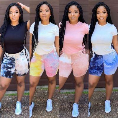 MOEN Fashion 2021 Streetwear Skinny Tie Dye Summer Womens Shorts Woman Casual Short Pants