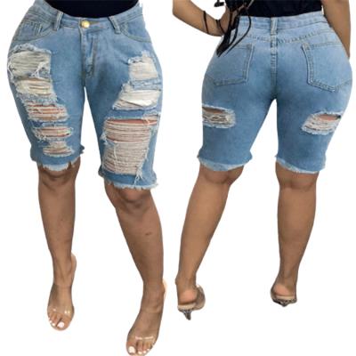 MOEN New Trendy Streetwear Knee Length Pants Woman Jeans 2021 Ripped Jeans Fabric Shorts For Women