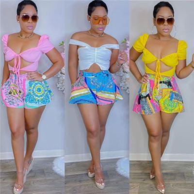 MOEN Hot Sale Streetwear Print Button Fly Shorts Women Clothing Fashion Women Casual Baggy Shorts