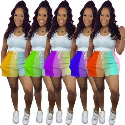 MOEN Newest Design Summer Spliced Drawstring Women Shorts Sports Casual 2021 Pants For Women