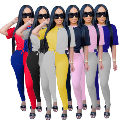MOEN Wholesale New Solid Color Patchwork Sports Suit Ladies Two piece pants set Short Sleeve Women 2 piece set clothing
