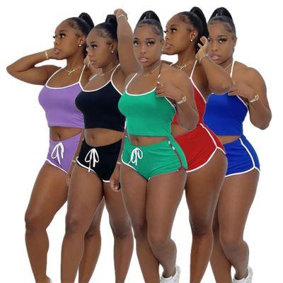MOEN Fashion 2021 Women 2 piece set clothing Solid Color Halter Casual Tracksuit Sports Suit Ladies Two Piece Short Set