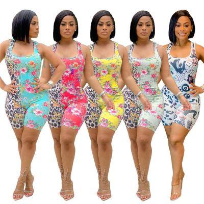 MOEN Best Design 2021 Summer New Bodycon Jumpsuit Flower Leopard Print Sleeveless Women Jumpsuits And Rompers