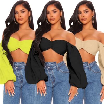 MOEN Fashionable 2021 Streetwear Woman Sexy Tops Off The Shoulder Backless Solid Color Puff sleeve Women Crop Top