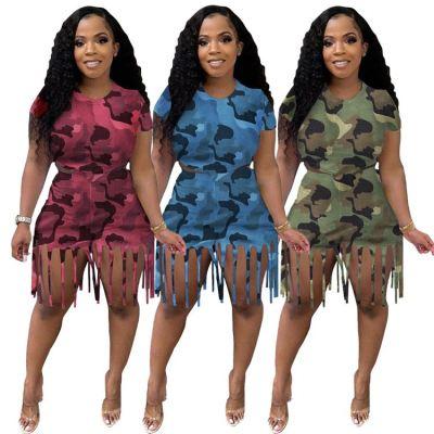 MOEN Best Seller Women Clothes 2021 Summer Two piece Short Set Camouflage print Tassel Casual 2 Piece Set Women Clothing