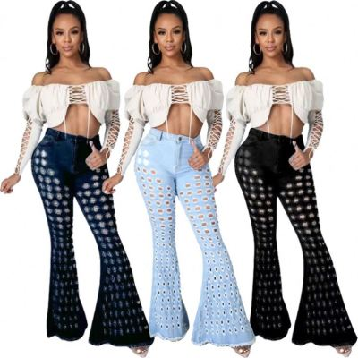 MOEN Good Quality 2021 Flared Jeans Women High elastic Washed Ladies ripped jeans Women Denim Pants