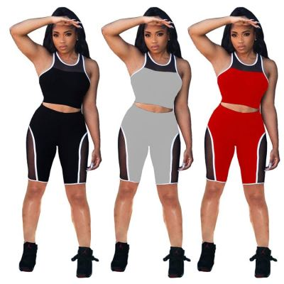 MOEN Latest Design 2021 Casual Sports Suit Solid Color Mesh Splice Tank Top And Pants Set Women Two Piece Short Set Clothing