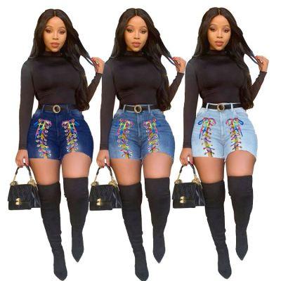 MOEN Latest Design Women Jeans 2021 High elastic Washed Colorful Bandage Short Jeans Women Denim Pants