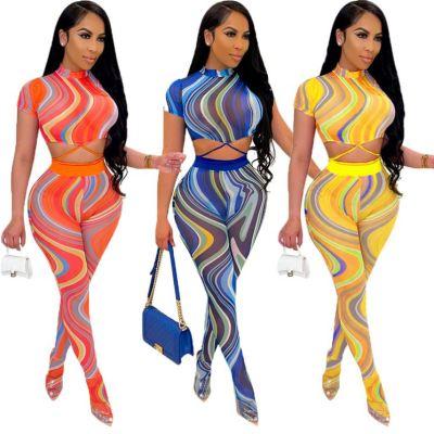MOEN Best Seller 2021 Summer Ladies Two piece pants set Mesh Print Bandage Casual 2 Piece Set Women Clothing