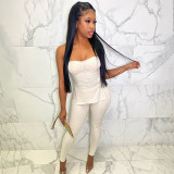 Good Quality Summer Casual Strapless Solid Color Backless 2 Piece Set Women Clothing Two Piece Pants Set