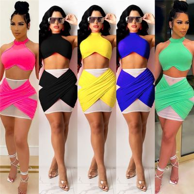 MOEN Hot Sale 2021 Women Clothing Summer skirt and top set Halter Solid Color Sexy Mesh Splice Women Two piece Skirt set