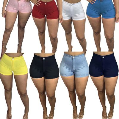 MOEN New Style 2021 Summer Women Shorts High elastic Solid Color Skinny Pants Trousers Shorts For Women
