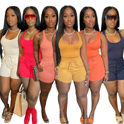 MOEN Hot Sale 2021 Summer Women Clothes 2 Piece Short Set Solid Color Tank Top And Shorts Drawstring Sports Women Two Piece Set