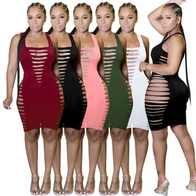 MOEN Lowest Price 2021 Women Clothing Club Dress Sleeveless Sexy Hollow Out Solid Color Women Elegant Casual Dresses