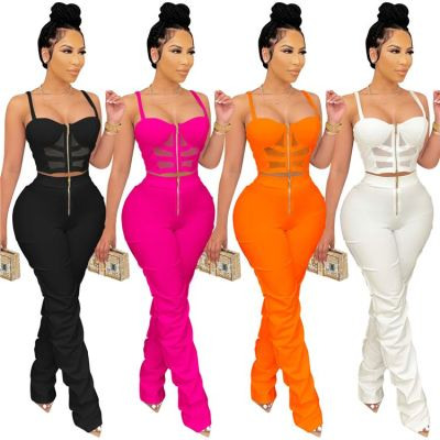 MOEN Best Seller Women Stacked Pants Set 2021 Sexy Two piece pants set Solid Color 2 Piece Set Women Clothing