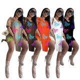 Copy Best Clothing Wholesale Sports Print Loose V Neck Short Sleeve Womens Two Piece Set Two Piece Shorts Set