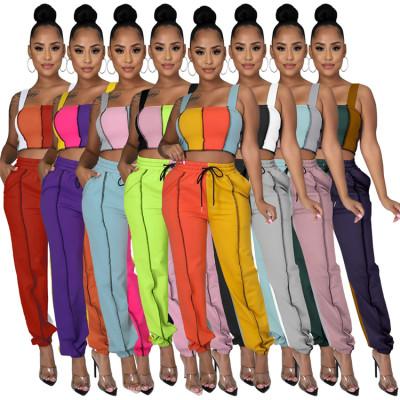 Good Quality 2 Piece Set Women Clothing Casual Vest Crop Top Patchwork Color Two Piece Pants Set