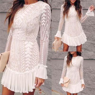 MOEN Fashionable White Lace Ruffle Sleeve Women Dresses Elegant Party Trendy Lace Mini Dress