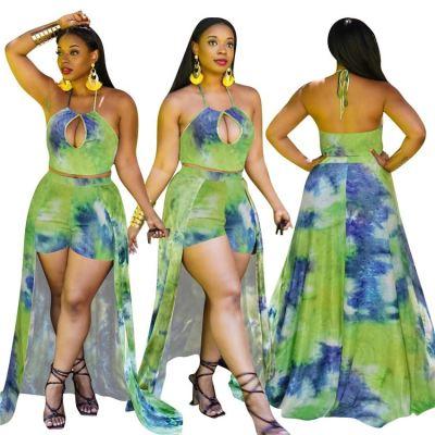 MOEN Wholesale Halter Hollow Out Tops Shorts Dress Women Print Two Piece Set 2021 Summer Women Sexy Two Piece Sets